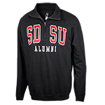 SDSU Alumni 1/4 Zip Sweatshirt- Black