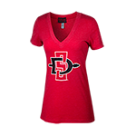 Women's Distressed SD Spear V-Neck Tee- Red