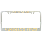 San Diego State Alumni License Plate Frame-Chrome & Gold