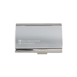 SDSU Hepner Hall Business Card Case-Silver Tone