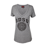 Women's Aztec Calendar V-Neck Tee-Gray