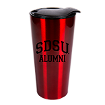 SDSU Alumni Metallic Travel Tumbler-Red