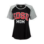 Women's SDSU Mom Raglan Tee-Black