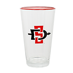 SD Spear Red Rim Pint Glass