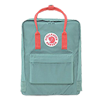 Fjallraven Kanken Backpack-Frost Green with Peach Handle