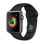 Apple Watch Series 3 GPS 38mm Space Gray Aluminum Case w/ Black Sport Band