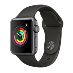 Apple Watch Series 3 GPS 38mm Space Gray Aluminum Case w/ Gray Sport Band