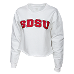 Women's SDSU Crop Sweatshirt-White