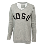 Women's SDSU V-Neck Sweatshirt-Gray