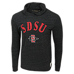 SDSU Long Sleeve Hood Tee-Charcoal