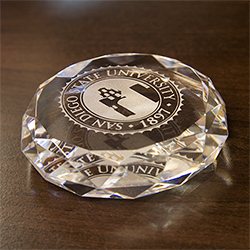 University Seal Crystal Paperweight