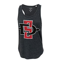 Women's Distressed SD Spear Tank-Charcoal