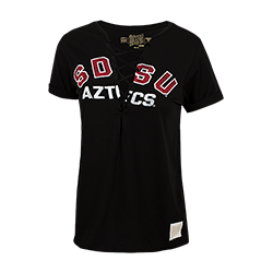 Women's SDSU Aztecs Lace Up Tee- Black