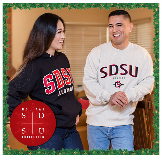 SDSU Holiday Collection. Photo of SDSU Alumni in SDSU Alumni Gear.