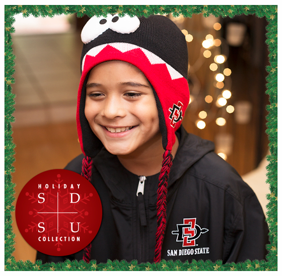 SDSU Holiday Collection. Photo of a child in SDSU Youth gear.