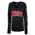 Women's V-Neck SDSU Long Sleeve Tee-Black