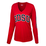 Women's V-Neck SDSU Long Sleeve Tee-Red