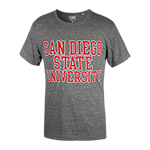 San Diego State Distressed Tee-Charcoal