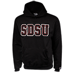 Black & Red SDSU Twill Hooded Sweatshirt-Black
