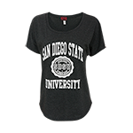 Women's San Diego State Seal Tee-Charcoal Black