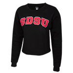 Women's SDSU Crop Sweatshirt-Black