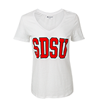 Women's SDSU V-Neck Tee-White