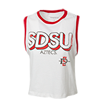 Women's SDSU Tank-White & red