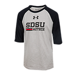 Youth Under Amour SDSU 3/4 Sleeve Tee-Gray
