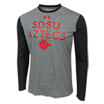Under Armour SDSU Aztecs Long Sleeve Tee-Charcoal