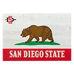 CA Bear Flag Wood Box Sign-White