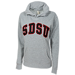 Women's Twill SDSU Hood Sweatshirt-Oxford Gray