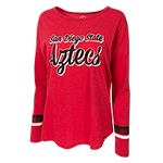 Women's San Diego State Cuff Stripe Tee-Red