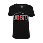 Women's SDSU Football V-Neck Tee-Black