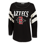 Women's Aztecs 3/4 Striped Sleeve Tee-Black