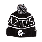 Aztecs SD Spear Pom Beanie- Black & White