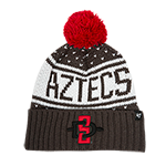 Women's Aztecs SD Spear Pom Beanie-Charcoal