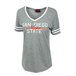 Women's San Diego State Mom V-Neck Tee-Gray