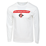 Aztec Football Lives Here Long Sleeve Tee-White