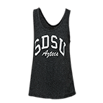 Women's SDSU Aztecs Jewel Tank (no pocket)-Charcoal