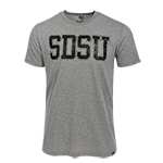 Distressed SDSU Triblend Tee-Gray