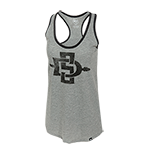 Women's Distressed SD Spear Racerback Tank-Gray
