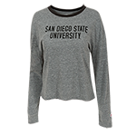 Women's San Diego State University L/S Tee-Gray & Black