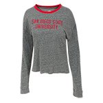 Women's San Diego State University L/S Tee-Gray & Red