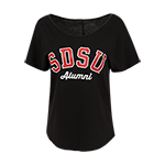 Women's Scoop Neck SDSU Alumni Tee-Black