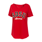 Women's Scoop Neck SDSU Alumni Tee-Red