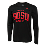 Nike Property of SDSU Aztecs Long Sleeve Tee-Black