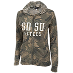 Women's SDSU Aztecs Camo Full Zip Sweatshirt-Green
