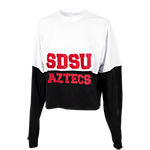 Women's SDSU Aztecs Cropped L/S Tee-White