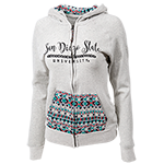 Women's SDSU Tribal Print Zip Hood-Cream