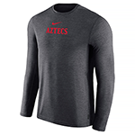 2019 Nike Sideline Long Sleeve Coach Tee-Charcoal